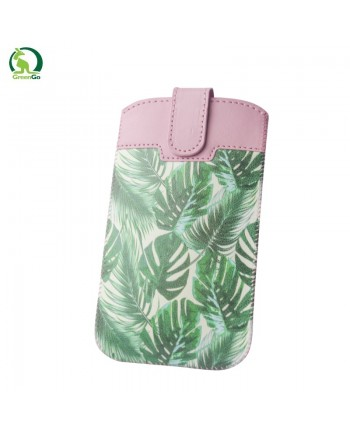 GreenGO Sim Up Plant Universal (8x14cm) Eco Leather pouch (Note 2 3 / Just5 Spacer 2) Light rose/Green