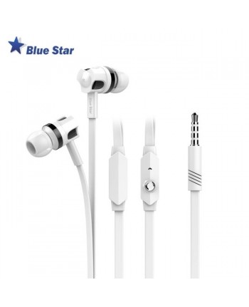 Bluestar JM26 Comfort Super Bass Stereo 3.5mm In-Ear Flat Cable Headset with mic/remote White