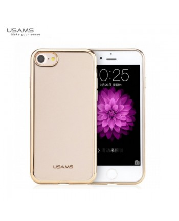 Usams Kim IP7J01 Ultra Thin Silicone Back Case for Apple iPhone 7 (4.7 inch) Transparent with Gold frame