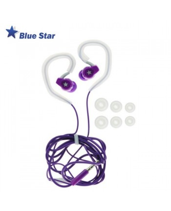 Blue Star SP80 Active Sport 3.5mm In Ear Earhook Stereo Earphones with Mic and remote Violet
