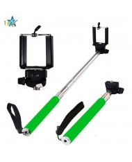 HQ Z07-Is Selfie Stick 100cm - Universal Fix Monopod with cable and buit-in Shutter Button Green
