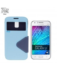Roar Fancy Diary S-View Book Case with window and stand Samsung J100H Galaxy J1 Light Blue/Blue (EU Blister)