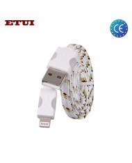Etui Super Flat Wired 1m Led Flashing Light Cable Apple iPhone 5 5S 6 6S 6 Plus 6S Plus (Analog MD818) White