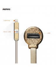 Remax RC-C103 3in1 3.4A Car 12V/24V Charger with Lightning / Micro USB Silicone Cable / USB Plug Golden
