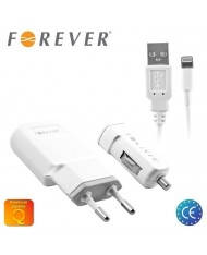 Forever 3in1 Universal 1.1A Charger Set - Travel USB / Car USB / Lightining USB Cable (EU Blister)