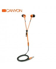 Canyon CNS-TEP1O In-Ear 10mm Driver Metal Housing Headset with Zipper Cable w/o mic Orange