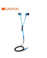 Canyon CNS-TEP1BL In-Ear 10mm Driver Metal Housing Headset with Zipper Cable w/o mic Blue