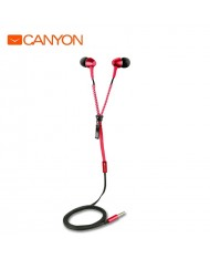 Canyon CNS-TEP1R In-Ear 10mm Driver Metal Housing Headset with Zipper Cable w/o mic Red