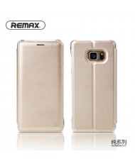 Remax Pure Eco Leather Super Thin Book Case with Stand for  Samsung N930F Galaxy Note 7 Gold