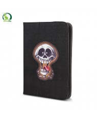 """GreenGo Universal 7-8"""" Tablet PC Eco Leather Book Case with Stand Crazy Skull 2"""