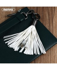 Remax RC-053m Designer Key Chain Ring with Micro to USB Data & Charger cable White