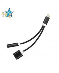 HQ Adapter Lightning to 3.5mm Audio Headset Jasck Adapter + Type-C Female Charger Plug (OEM) Black