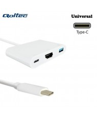 Qoltec 50425 USB Type-C 3.1 Port Adapter to HDMI AF + USB 3.0 AF + USB Type-C 3.1 Cable 20cm White