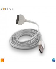 Forever  Flat Silicone USB Data & Charger 30pin Cable iPhone 3G 4 4S / iPad 2 3 White 1m (MA591 Analog)
