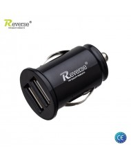 Reverse MT-C222 Super Small 2.1A / 1A 5V Dual USB Plug Car 12V/24V Charger (Tablet PC/Mobile Phone) Black