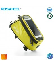 "Roswheel L Single Zipper Pocket  Bike Frame Bag with Universal  5.5"" (8.5x16cm) Smartphone Top Holder Case Yellow"