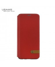 Usams DUKE ultra thin fashion magnetic smart book case without clip for Samsung G955 Galaxy S8 Plus / S8+ Red