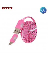 Etui Super Flat Wired 1m Led Flashing Light USB to Type-C Data & Charging Cable Pink