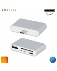Forever SH-100 Type-C Smart Hub OTG Adapter with Micro USB / USB 2.0 / Micro SD / SD Ports Reader Silver