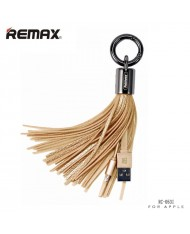 Remax RC-053i Designer Key Chain Ring with Apple Lightning Data & Charger cable (MD818) Gold