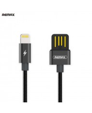 Remax RC-080i Serpent USB 2.0 Double-Sided to Lightning Woven Metal 1m Cable with Aluminum Cennectors Black