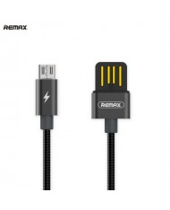Remax RC-080m Serpent USB 2.0 Double-Sided to Micro USB Woven Metal 1m Cable with Aluminum Connectors Black