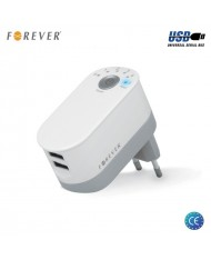 Forever Universal Double USB Plug 5V 2.2A 11W Smart Travel Charger with Switch Off Timer White