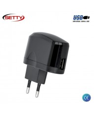 Setty Universal 1A 5V USB Plug Travel Charger for Smartphone / Mobile Device (Euro CE) Black