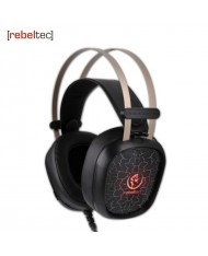 Rebeltec Tornado Gaming 50mm Stereo Headphones with sensitive Mic / vol Remote 2.1m Cable Led Light Black