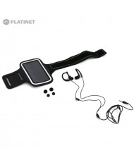 """Platinet PM1070B 2in1 IN-Ear Sport Stereo Headset with Mic & Clip + Armband Smarthone Case (5"""" Max) Black"""