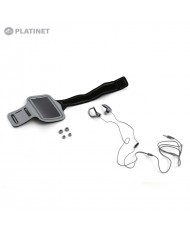 """Platinet PM1070GR 2in1 IN-Ear Sport Stereo Headset with Mic & Clip + Armband Smarthone Case (5"""" Max) Grey"""