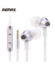 Remax RM-610D Flat Cable Stereo 3.5mm In-Ear Headset with mic/volume remote (iOS/Android) Silver