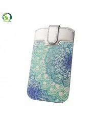 GreenGO Sim Up Decor Universal (8x14cm) Eco Leather pouch (Note 2 3 / Just5 Spacer 2) Silver/Blue