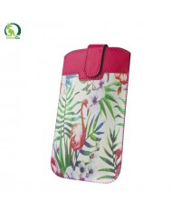GreenGO Sim Up Flamingo Universal (8x14cm) Eco Leather pouch (Note 2 3 / Just5 Spacer 2) Rose/Green