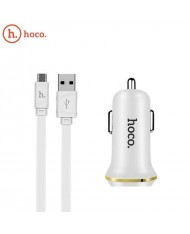 Hoco Z1 2in1 Kit Car DC 12-24V Dual USB Socket 2.1A Charger + USB to Mico USB 1m Cable White