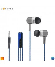 Forever SE-120 Universal Fabric Wire Cable 3.5mm In-Ear Earphones for Phone with Microphone Black-Blue