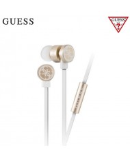 Guess GUEPWIGO Universal Premium Sound 3.5mm Headset with Micprophone and Remote White/Gold