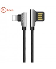 Hoco U42 L Shape Lightning to USB Data & Fast Charger Cable 1.2m 90 degree Steel Connector Black