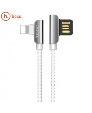 Hoco U42 L Shape Lightning to USB Data & Fast Charger Cable 1.2m 90 degree Steel Connector White