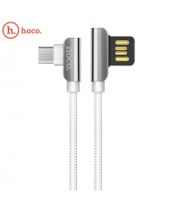 Hoco U42 L Shape Micro USB to USB Data & Fast Charger Cable 1.2m 90 degree Steel Connector White
