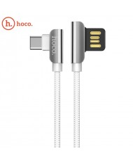 Hoco U42 L Shape Type-C to USB Data & Fast Charger Cable 1.2m 90 degree Steel Connector White
