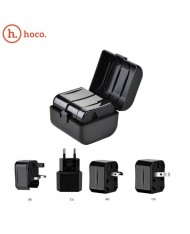 Hoco AC1 Multi Power Plug adapter from/to UK 3pin - Euro 2pin - US (USA) - Asia Adapter + Carrying Case Black