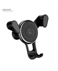 Usams US-ZJ034 Royal Smart Self Fix Clip Car Holder on Air Grill Rest for any Smartphone 5-8cm wide Black