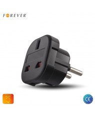 Forever Power Plug adapter from UK (United Kingdom) 3pin to Euro Socket - UK to EU Adapter
