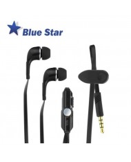 Blue Star IN60 Sport Comfort Stereo 3.5mm In-Ear Flat Cable Headset with mic/remote Black