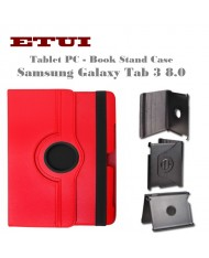 Etui Eco Leather Case with rotated stand Samsung Galaxy Tab 3 8.0 Red