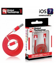GT Flat ios7 USB Lightning 8pin Cable 1m for iPhone 5 5S iPad 4 / mini Red