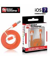 GT Flat ios7 USB Lightning 8pin Cable 1m for iPhone 5 5S iPad 4 / mini Orange