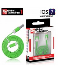 GT Flat ios7 USB Lightning 8pin Cable 1m for iPhone 5 5S iPad 4 / mini Green