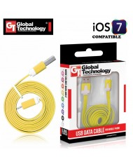 GT Flat ios7 USB Lightning 8pin Cable 1m for iPhone 5 5S iPad 4 / mini Yellow